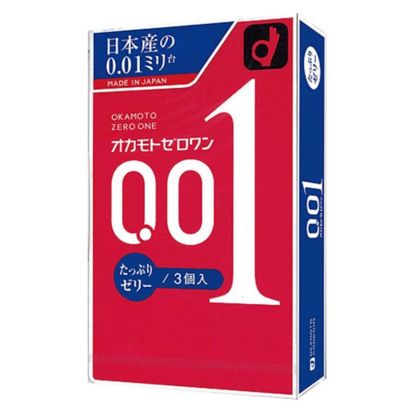 Okamoto日本版岡本0.01水潤型安全套雙倍潤滑-3片
