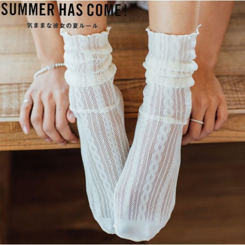 HENNY RUE春夏新款中筒襪日系麻花紋彈力木耳邊鏤空網眼堆堆女襪