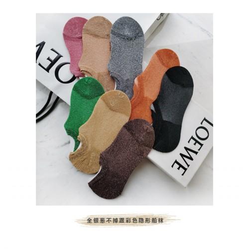 HENNY RUE2020 春夏薄款襪子女士韓版彩色時尚銀蔥不掉跟隱形船襪